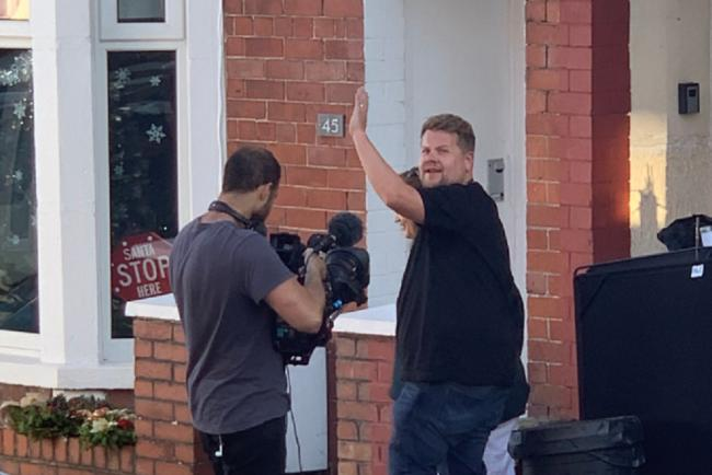 James Corden on on-set in Barry