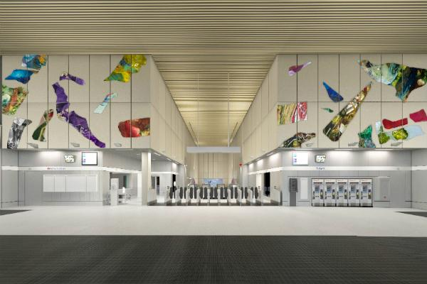 Samara Scott's Nine Elms artwork includes scavenged objects. Picture: TfL