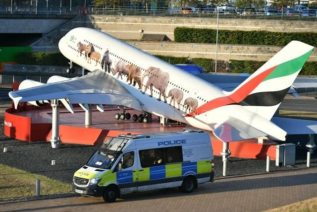 A large police presence was seen at Heathrow Airport (Dominic Lipinski/PA)