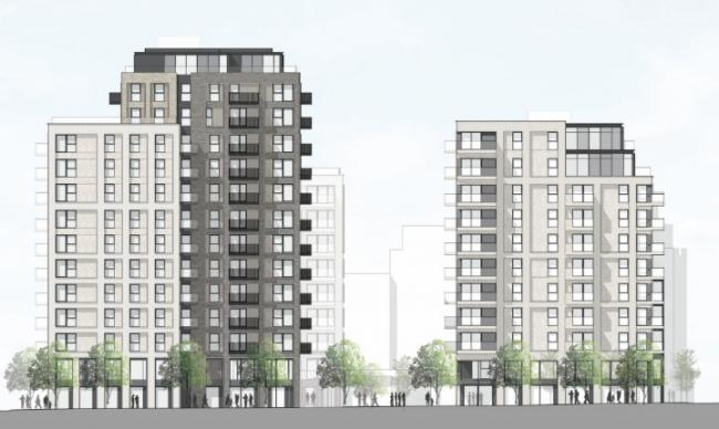 An artist's impression of the controversial tower blocks now approved by the Mayor