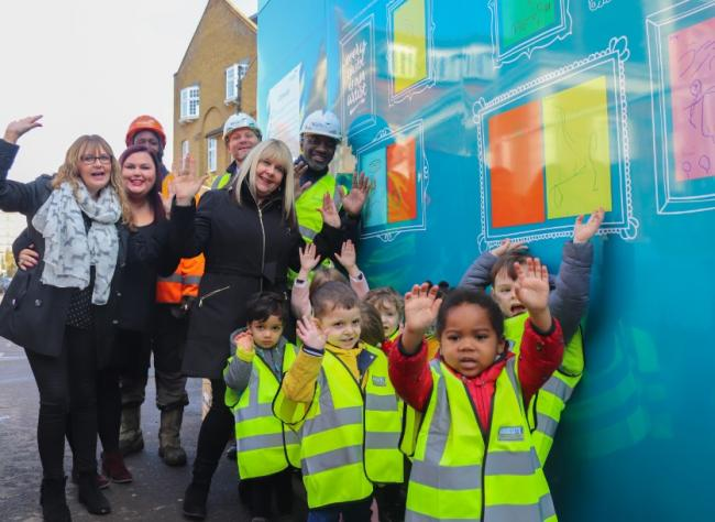 Nursery children design artwork for Shuttleworth Road site hoarding