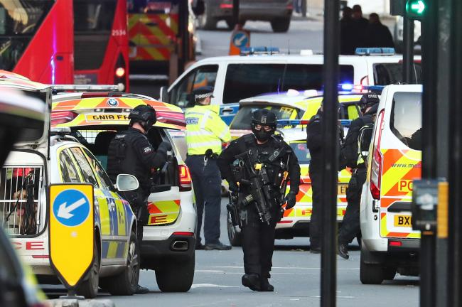 Armed police and emergency services at the scene of an incident on London Bridge in central London. Friday November 29, 2019. Image: Gareth Fuller/PA Wire