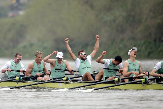 Cambridge celebrate winning the Men's Boat Race in 2019