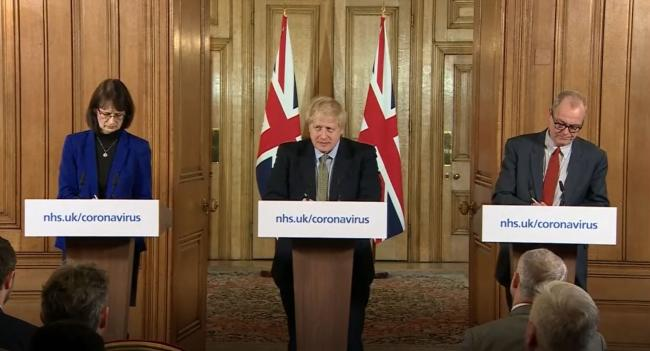 Dr Jenny Harries, Prime Minister Boris Johnson and Chief Scientific Adviser Sir Patrick Vallance, speaking at a media briefing in Downing Street, London, on coronavirus (COVID-19) as NHS England announced that the coronavirus death toll had reached 104 in
