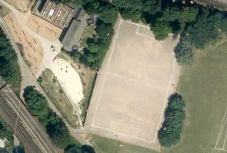 Aerial view of existing Tooting Triangle sports pitch