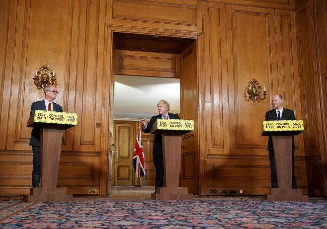 (Left to right) Chief Scientific Adviser Sir Patrick Vallance,  Prime Minister Boris Johnson and Chief Medical Officer Professor Chris Whitty during a media briefing in Downing Street, London, on coronavirus (COVID-19). Pippa Fowles/10 Downing Street/Crow