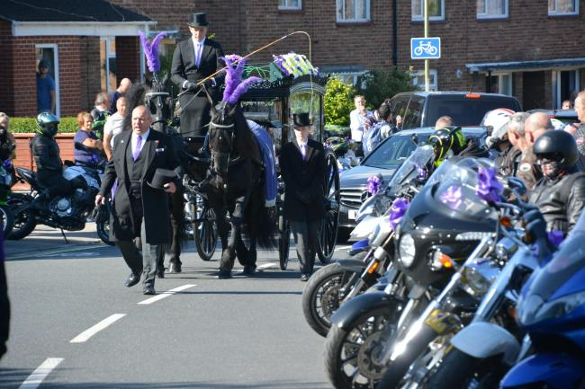 Hundreds of bikers join the funeral procession for 16-year-old murder victim Louise Smith (Ben Mitchell/PA)