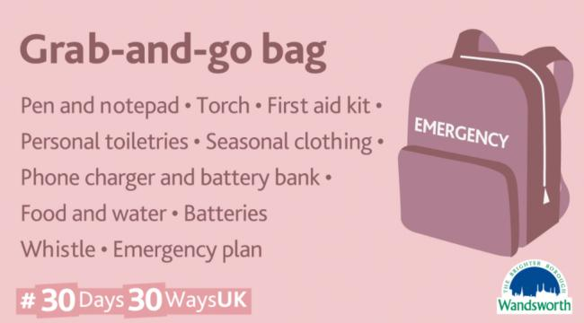 Emergency 'Grab Bag' advice (Wandsworth Council)