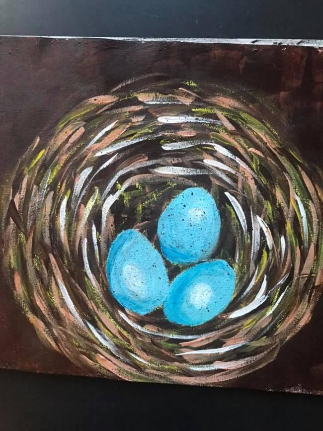 Painting of a bird's nest by an adult in Art & Soul's Remote Connectivity workshop