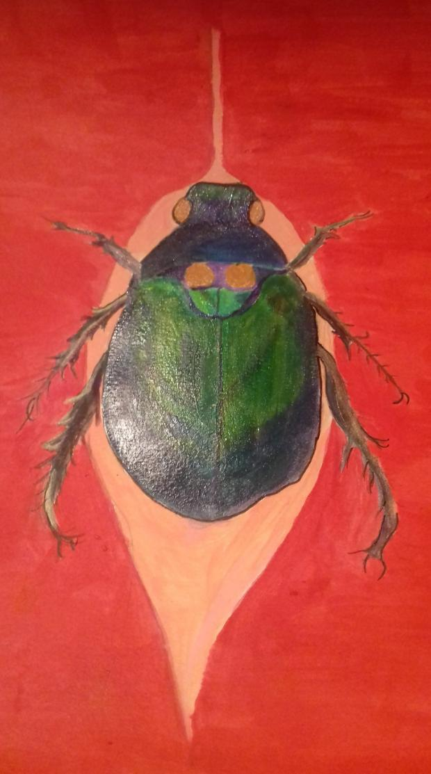 Wandsworth Times: Painting of a beetle by an adult in Art & Soul's Remote Connectivity workshop