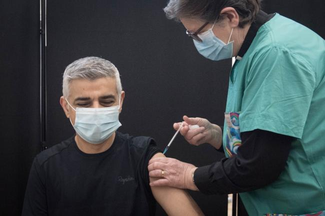 Mayor of London Sadiq Khan receives his first dose of the Pfizer vaccine - PA