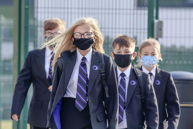 Pupils wear protective face masks as they returned to Outwood Academy Adwick in Doncaster (Danny Lawson/PA)