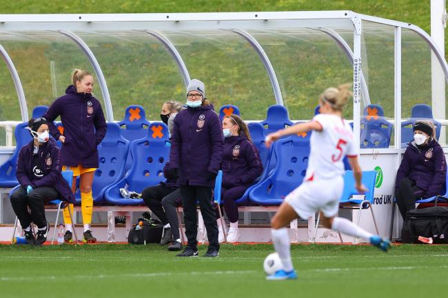 England Women head coach Hege Riise watches from the sidelines