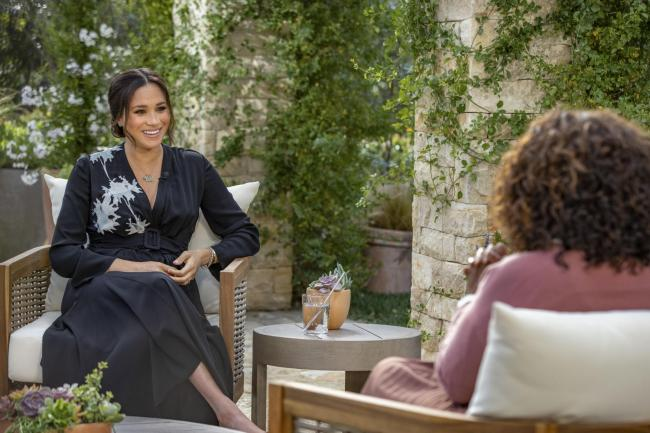 The Duchess of Sussex during the interview with Oprah Winfrey