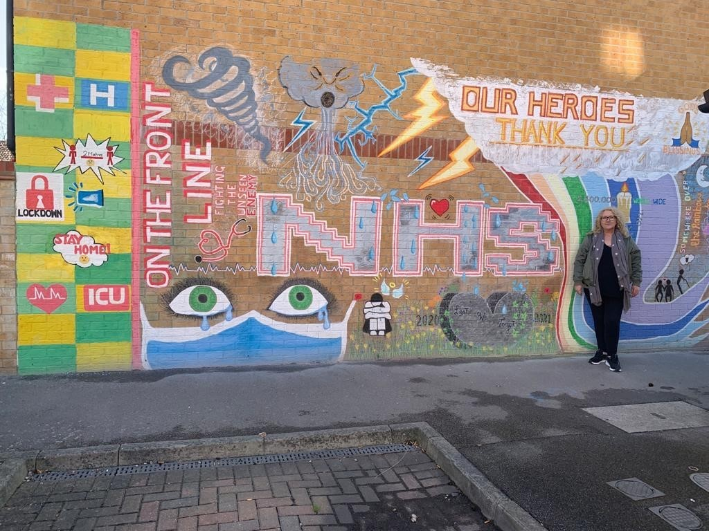 Susan and her NHS mural
