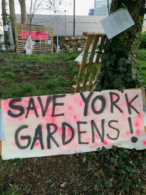 Protesters are occupying York Gardens in Battersea again to stop trees being felled