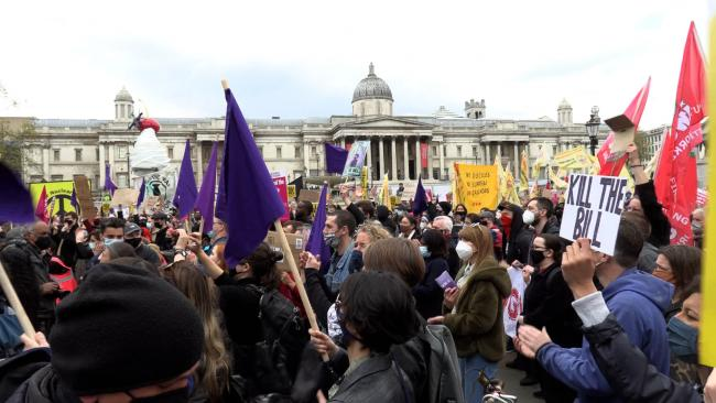 Thousands gathered on Saturday in Trafalgar Square and marched up The Mall