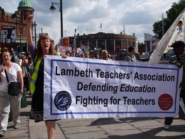 Sara Tomlinson, joint secretary of the NUT, leads the march in Brixton