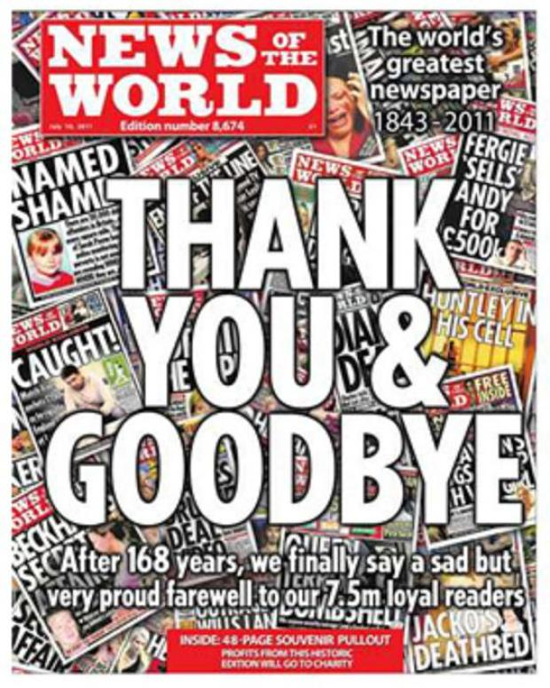 The final edition of the now defunct News of the World newspaper