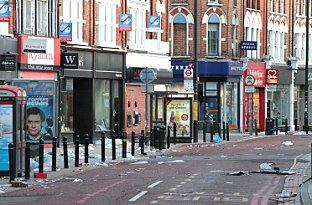 The aftermath of the riots in Battersea, near Clapham Junction