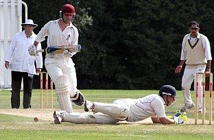 Fine margins: Addiscombe's Andrew Hurrion misses a chance to run out Richard P