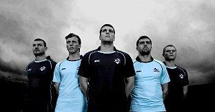 New dawn:  Chris Melling, second from the right, shows off the new kit with his London Broncos team mates