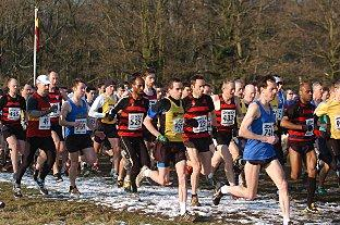 Champions: Herne Hill Harriers, in red and black stripes, begin their race to victory on Saturday