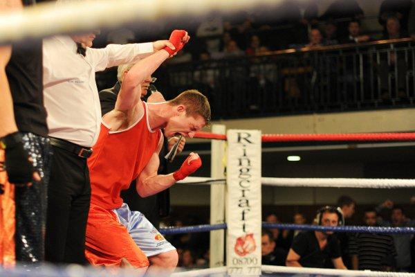 Roar of delight: Kirk Garvey lets the emotion out as he is named ABA champion on Friday. Courtesy: Andrew Orchard/ABAE