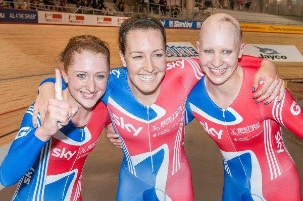 Three of a kind: Laura Trott, Dani King and Cheam's Joanna Rowsell celebrate gold in Australia. Courtesy: Guy Swarbrick