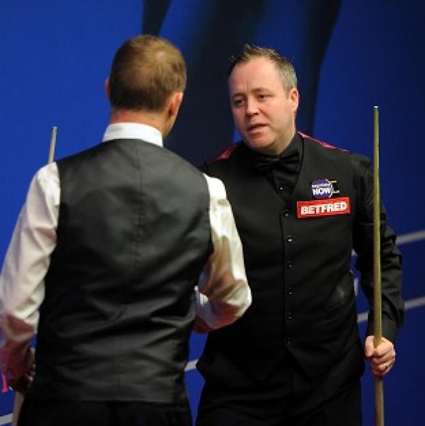 Stephen Hendry (left) and John Higgins