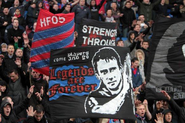 Support: A Palace fan shows his backing for Dougie Freedman with this banner