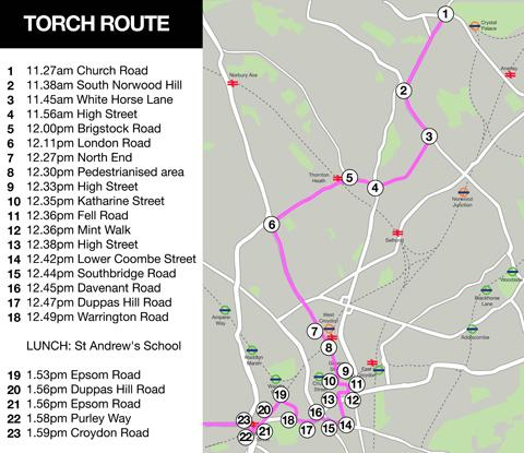 Croydon Olympic torch route map