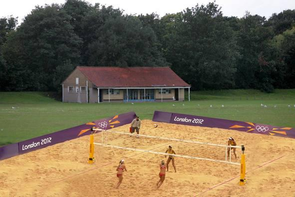 Sand arrives at Barns Elms as beach volleyball courts come to down