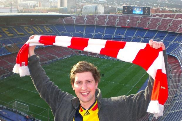 Peter Westropp on a trip to the Nou Camp in Barcelona
