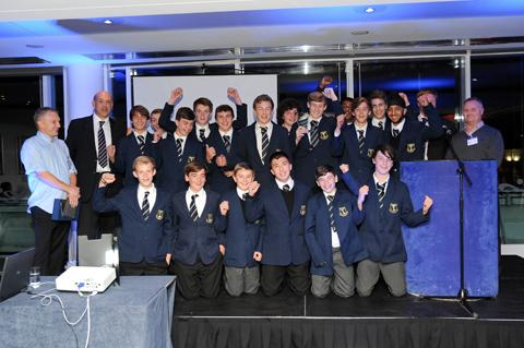 Glyn School under 15 Rugby Team collect the AFC Ewell Young Sports Team of the Year Award