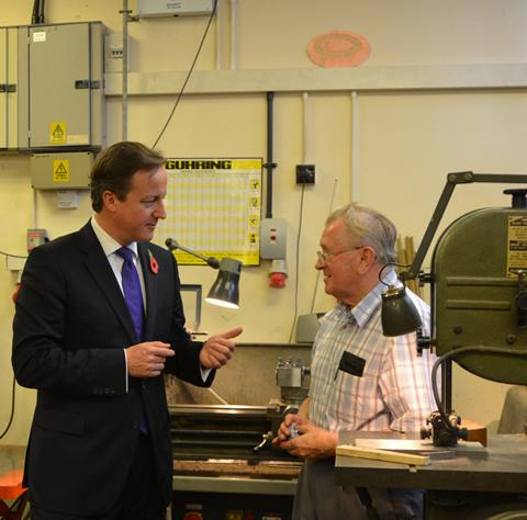 Prime Minister David Cameron announces UK's emergence from recession at Panorama Antennas, Putney