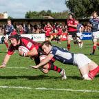 Dive, dive, dive: Jersey's Guy Thompson scores against London Scottish last weekend and owes Richmond for his rugby revival