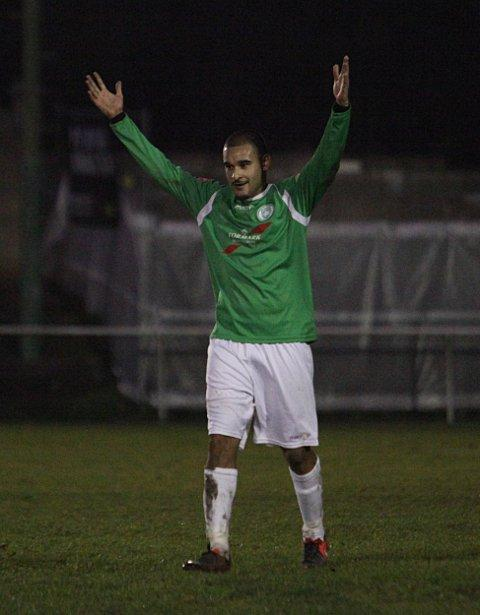 Second time's a charm: Michael Abnett celebrates his retaken penalty against Sevenoaks    SP70855