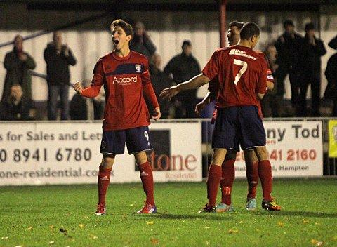 Come on: Charlie Moone is confident Hampton can cause an FA Trophy upset