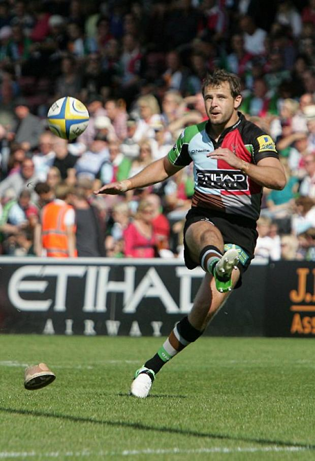 Wandsworth Guardian: Return: Quins fly half Nick Evans returned to Premiership action last week, but could not insire his side to a win at Bath