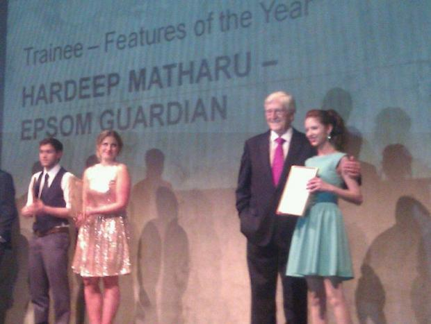 Sir Michael Parkinson presents Hardeep Matharu with her award