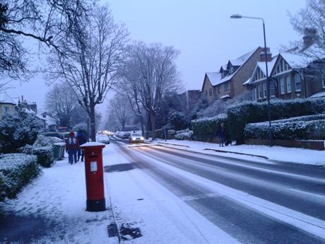 Mulgrave Road in Sutton is coated in snow this morning