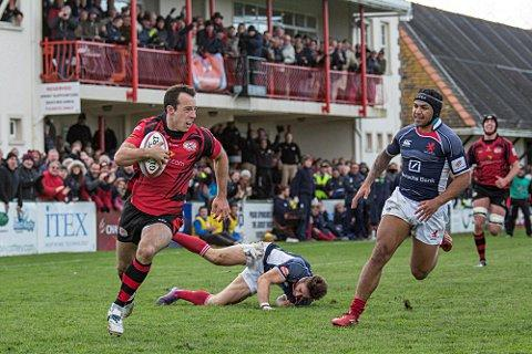 Jersey royals: Former Esher winger James Copsey, left, helped Jersey to the National Division One title and promotion to the Championship  	Suzanne Trower