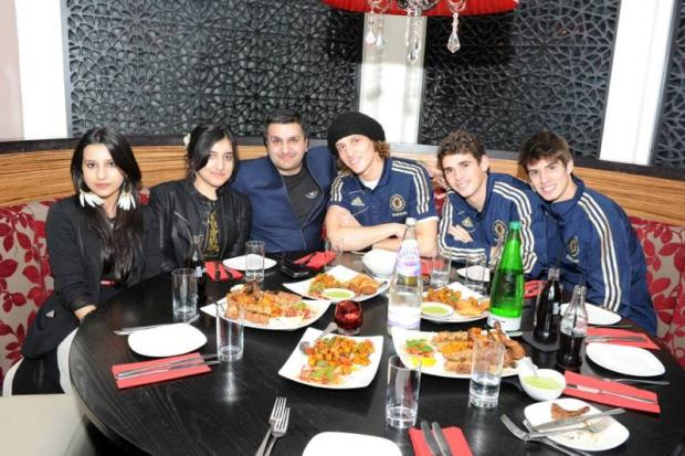 Premier league Chelsea footballers enjoy curry at Chak 89 in Mitcham