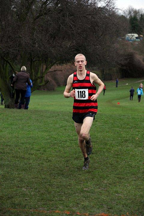 Too good: Harriers' Lewis Lloyd on his way to winning the U20 men's race in 25 minutes, 36 seconds - 22 seconds ahead of his nearest rival     SP72882