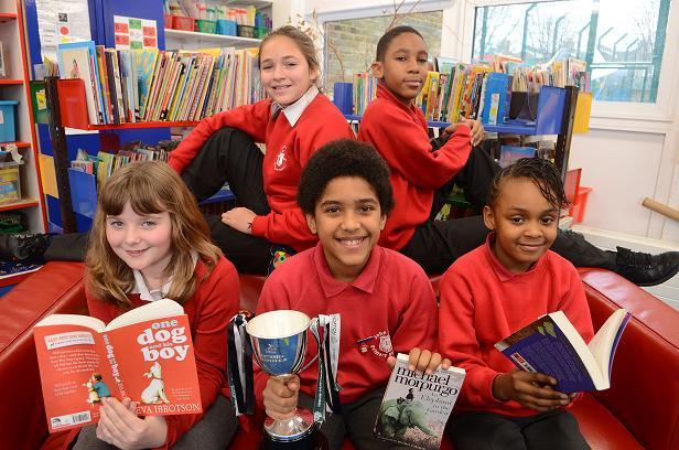 John Burns Primary School pupils celebrate winning reading competiton