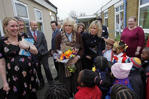 The Duchess of Cornwall is greeted by St Mary's pupils