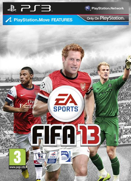 Prince Harry on the cover of the Fifa 13 Royal Edition