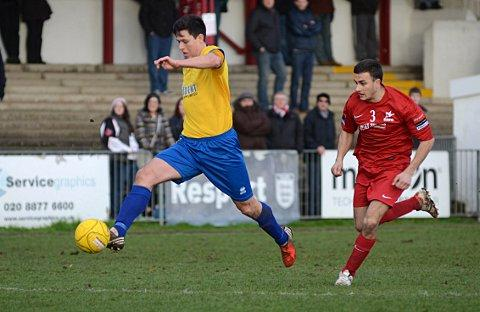 Opening salvo: Kingstonian midfielder Matt Pattison on route to scoring the opening goal at Carshalton Athletic