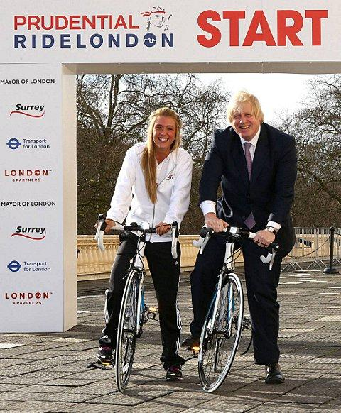 Double Olympic champion Laura Trott with mayor Boris Johnson at the launch